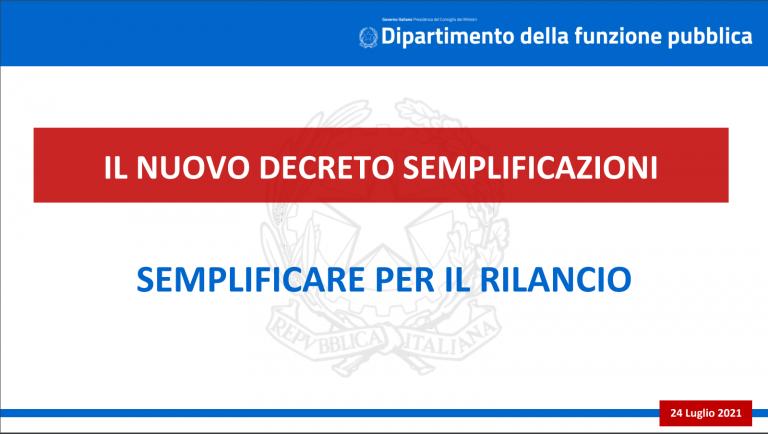 D.L. Semplificazioni – Le slides del Dipartimento della funzione pubblica